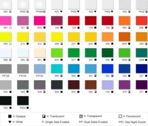 قیمت پلکسی گلاس در رنگ های مختلف